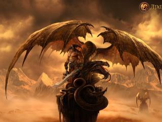 обои Воин с прирученным драконом фото