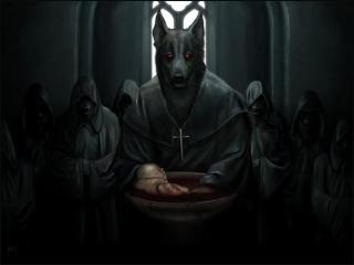 обои Волки и младенец в чаше с кровью фото