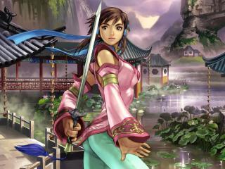обои Восточная девушка с мечом фото