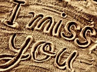 обои для рабочего стола: Надпись на песке