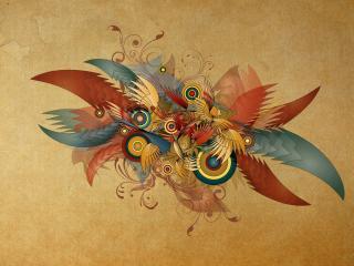 обои Узор абстракции крыльев и кругов фото