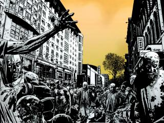 обои Толпа зомби в городе фото