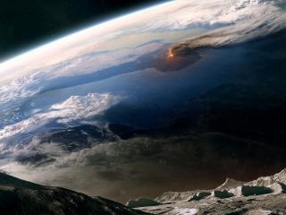 обои Фото извержения вулкана на земле сделанное с луны фото