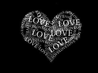 обои Сердце из слов love фото