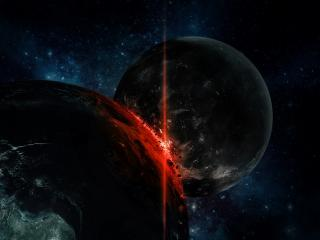 обои Ужасное столкновение двух планет фото