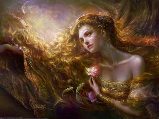 обои Грустная девушка с розой и рыбки вокруг нее фото