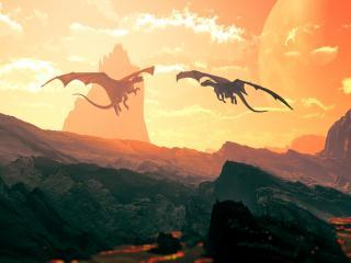 обои Два дракона в полете фото