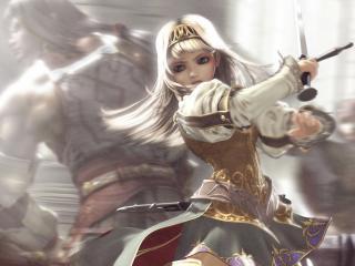 обои Девочка с мечем в сражении фото