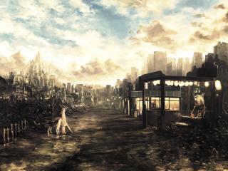 обои Девочка с собакой на руинах города фото