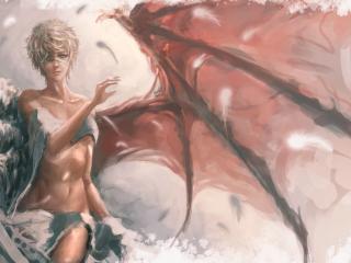 обои Девушка ангел с разными крыльями фото