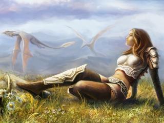 обои Девушка в доспехах и драконы пролетают фото