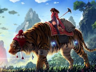 обои Девушка на фантастическом тигре фото