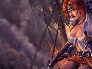 обои Девушка пират на горящем корабле фото