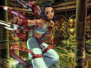 обои Девушка с клинками в храме фото