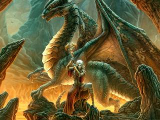 обои Девушка с магическим посохом и дракон фото
