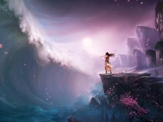 обои Девушка с флейтой укрощает морскую волну фото