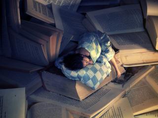 обои Сон девушки на книгах фото