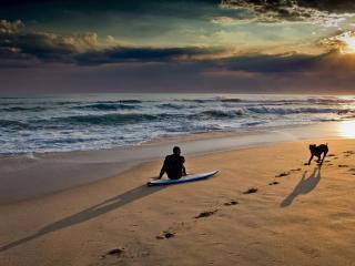 обои Пляж на закате фото