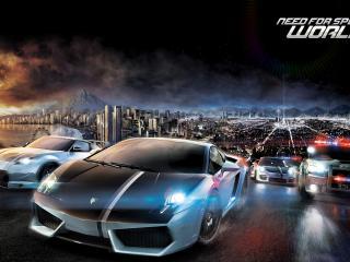 обои Need for speed world,   гонка по вечерних улицах фото