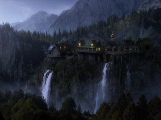 обои Дворец у обрыва с водопадами фото