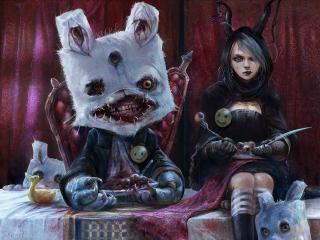 обои Девочка и кролик монстр фото