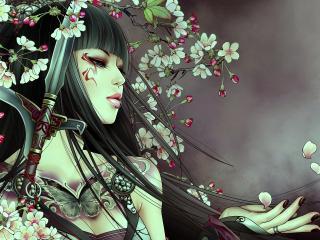 обои Девушка и кинжал среди цветущих ветвей фото