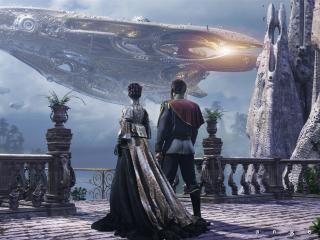 обои Корабль будущего и люди на балконе фото
