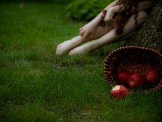обои Неизвестная девушка и яблоки в корзине фото