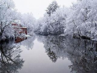 обои Природные зеркала зимнего пруда фото