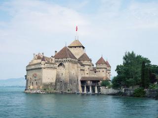 обои Шильонский замок в Швейцарии фото