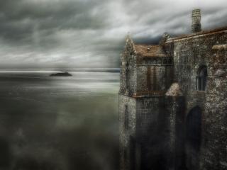 обои Серый замок у моря фото