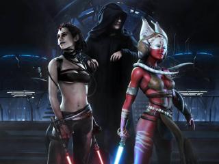 обои Девушки со световыми мечами и повелитель фото