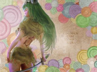 обои Зеленоволосая девушка с саблей фото