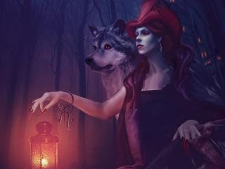 обои Злая красная шапочка с прирученным волком фото