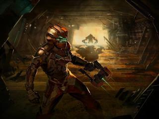 обои Dead space 2,   айзек с пистолетом коридоре фото