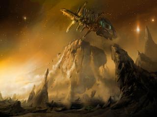 обои Dead space,   корабль над планетой фото