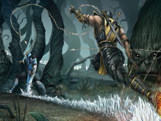 обои Mortal kombat,   драка в лесу фото