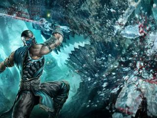 обои Mortal kombat,   кровавый боец с мечом фото