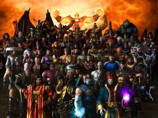 обои Mortal kombat,   многочисленные персонажи игры фото
