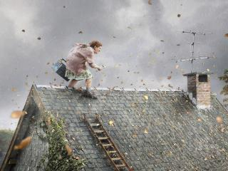 обои Бабка на крыше фото