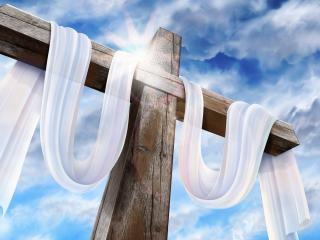 обои Огромный крест и белая материя фото