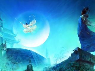 обои Магический прыжок девушки над домами фото