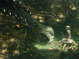обои Маленькая девочка у головы дракона фото