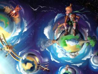 обои Маленький принц в космосе фото