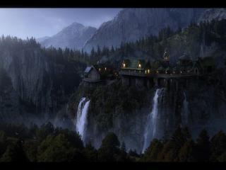 обои Замок среди скал и водопад фото