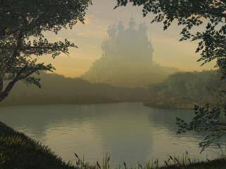 обои Замок у озера в туманной дымке фото
