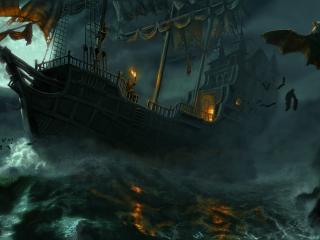 обои Корабль в шторм и летучие мыши фото