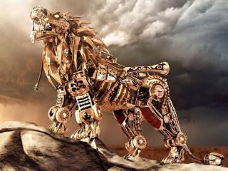 обои Лев робот на горе фото