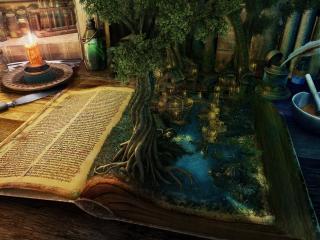 обои Магическая книга на столе фото