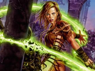 обои Магический зеленый шлейф фото